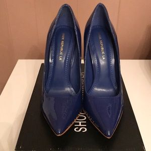 Brand New blue patent stiletto heel size 7